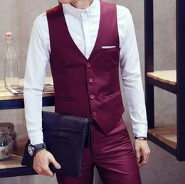highest quality wine 2019 - Leisure men's suit vest wine red wedding formal occasions waistcoat high quality customized business the groom's best ma