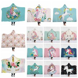 BaBy 3d online shopping - Unicorn Hooded Blanket Cloak Winter Thickened Double Plush Blankets Unicorn D Print Baby Adult Blanket Magic Blanket CCA10601