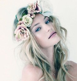 Discount crown head tiara - Boho Headbands Pageant Crowns Quinceanera Tiaras Hair Wreath Rose Flower Accessories Bridesmaid Wedding Head Pieces Garl