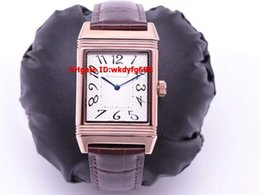 mens luxury automatic watch swiss movement Canada - New Luxury JL Grande Reverso Q2788520 Mens Ladies Watch SWISS JLC 986 Automatic Movement 28800bph Brown Leather Water resistance 100m