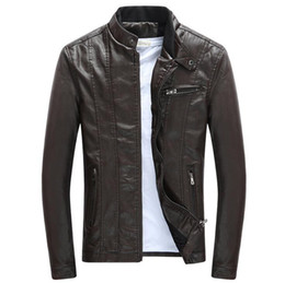 872bc27f3f05 Jacket pu online shopping - Spring Autumn Mens PU Leather Jackets Stand  Collar Coats Male Motorcycle