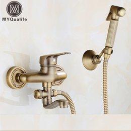 Bidets & Bidet Parts Bidets Bidet Taps With Bidet Shower Rose Gold Copper Hot And Cold Bidet Shower Brass Wall Mounted Woman Washer Mop Tap With Shattaf Set