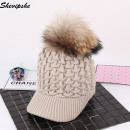 e016767fbc7 Shevipshe Women Baseball Hats Pom Poms Winter Hats Casual Crochet Knitting  Hat Brand Thick Female Cap Real Fur Hat Bone Feminino
