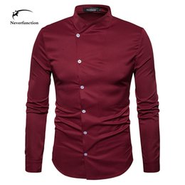 Color Design Dress Shirt Canada - Personality fashion design oblique button men shirts Long Sleeve dress wedding party Slim Fit Henry collar shirt for men 4 color