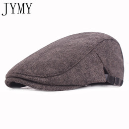 fb219da9c7c Men Classic Western Duckbill Cap Middle-aged and Old Cotton Keep Warm Blend Ivy  Caps Flat Brim Adjustable Men Beret Cap JYMY406