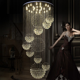 Modern chandelier reMote control online shopping - Modern Pendant Lamp Chandeliers Crystal Staircase Light Large Crystal Light Crystal Ceiling Light Staircase Stairs Foyer Ceiling Lamp