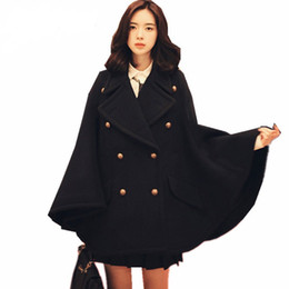 Winter capes ponchos online shopping - Winter Newest Runway Designer Women Oversized Wool Poncho Navy Cape Coat Female Cloak manteau femme abrigos mujer Thick warm