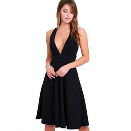 b62e5a2db44 Deep V Sleeveless Double Pockets Sexy Woemn Dress Elegant 2017 Summer  Fashion Sexy Dresses Black Ladies Vestidos