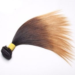 virgin hair thick ends 2019 - 1B 4 27 Ombre Hair Brazilian Straight Virgin Hair Full and Thick End Peruvian Malaysian Mongolian Indian Three Tone Ombr