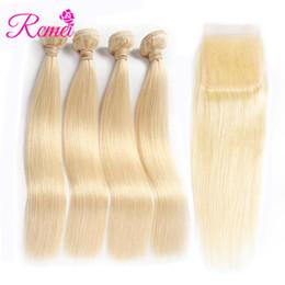 $enCountryForm.capitalKeyWord NZ - Rcmei Brazilian Hair Straight Hair 4 Bundles With Closure 613 Blonde Color 10-26 Inch Human Hair With 4x4 Closure Free Shipping