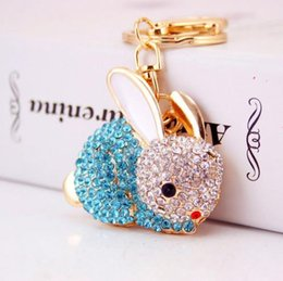 moon rabbit pendants NZ - Lovely Rabbit Full Crystal Keychains Keyrings Key Chains Purse Bag Pendant For Car Women llaveros Lindo Chaveiro