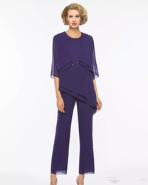 New Purple Mother Of The Bride Pantalone con giacca Cheap Chiffon Wedding Guest Dress Outfit Plus Size Abbigliamento formale Tute da sera