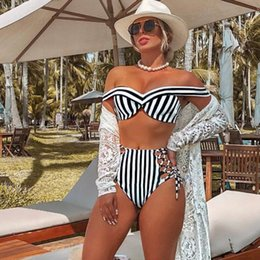 HigH waisted two piece swimsuits online shopping - Red Striped Bikini Set Women Heart Neck Push Up High waisted Two Pieces Swimwear Beach Bathing Suits Swimsuits Biquinis