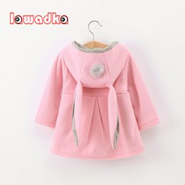 cute baby clothes ears UK - Lawadka Cute Rabbit Ear Hooded Baby Girls Coat New Autumn Tops Kids Warm Jacket Outerwear & Coat Children Clothing