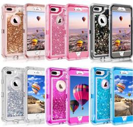 iPhone 7 X 8 6 6 S Plus Samsung S9 S8 Plus Note8 Militaire-qualité Buffer Antichoc Robot Glitter Liquide Defender Cas DHL Livraison Gratuite en Solde
