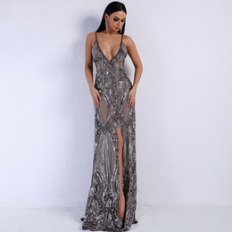 gold maxi dresses NZ - 2018 Summer Sexy V-neck Off Shoulder Middle Split Women Dress Sequin See Through Maxi Party Dress Prom Evening Gowns vestidos de noiva