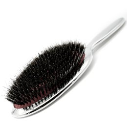 $enCountryForm.capitalKeyWord UK - High Quality Pure Boar Bristle Hair Paddle Brush Antistatic Salon Oval Hair Brush With Air Bag Brushes Comb In Silver And Gold free shipping