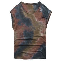 aeb4b8d9 Summer wear old bamboo cotton vest T shirt tide color tie dye vest men's  casual sleeveless Tank Top