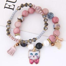 $enCountryForm.capitalKeyWord NZ - Bohemian Ceramics Crystal Beads Bracelets for Women Cat Tassel Charm Bracelets & Bangles Elastic Bracelet Femme Pulseira