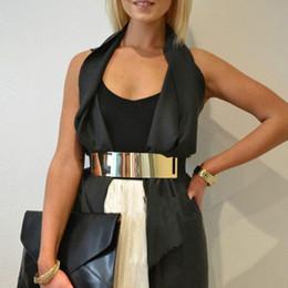 $enCountryForm.capitalKeyWord NZ - Women Elastic Mirror Ladies Golden Metal Waist Belt Accessories Metallic Bling Plate Wide Band For Female New Sale