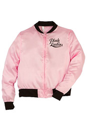 Wholesale grease pink ladies resale online - New Arrival Pink Ladies Grease Costume Retro Jacket Fancy Cheerleader Girls Pink Autumn Coat Halloween Party Clothing