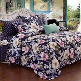 China 60S Cotton Flower Birds print Duvet cover set Luxury Chinese Bedding Set King Queen 4Pcs Soft Warm Bed sheet Living room cheap bird crib bedding set suppliers