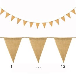 Wholesale DIY triangle blank banner Burlap Garden Flags set House Home Decorative Hanging Flag Courtyard Flags Christmas wedding party flag