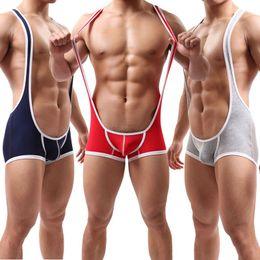 Sexy Men's Gym Fitness Leotardo Lucha Libre Singles Jockstrap Bodybuilding Jumpsuit Ropa Interior Soft Modal One Piece Bodysuit en venta