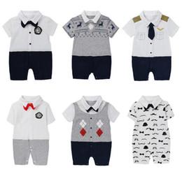 Gentleman Romper Jumpsuit Australia - Baby Rompers Boy Cotton Gentleman Romper Jumpsuit Clothes Newborn Baby Infant Kids Clothing