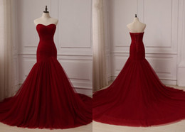 cheap informal dresses NZ - Sexy Wine Red Cheap Wedding Dresses Mermaid Actual Photo Sweetheart Lace up Back Pleated Court Train Informal Wedding Gowns Bridal
