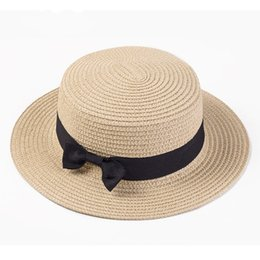 Flat Hats For Women NZ - Girls and women Boater sun caps Ribbon Round Flat Top Straw beach hat Panama Hat summer hats for women straw hat snapback gorras