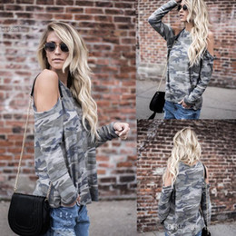 Sexy Army Shirts Australia - 2018 Designer t shirt fashion women clothing lol Casual Camouflage Sexy Blouse Tops O-Neck Long Sleeve Cold the Shoulder T-shirt