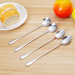 Round Kitchen Sets Australia - 2PCS Set Stainless Steel Coffee Stirring Spoon LongHandle Ice Cream Spoon Sharp Round Head Classical Soup Kitchen Utensil