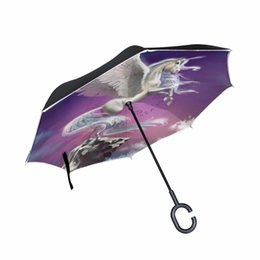$enCountryForm.capitalKeyWord Australia - C-Hook Self Stand Unicorn Folding Reverse Umbrella Double Layer Inverted Windproof Rain Car Umbrellas For Women