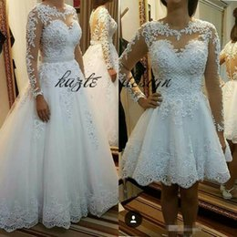 $enCountryForm.capitalKeyWord Canada - Long Sleeve Removable Short Wedding Dresses for Women Puffy African Black Girls Gold Lace Puffy Beaded Sheer Neck Bridal Gowns 2018
