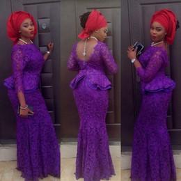 Discount champagne gold royal blue aso ebi - Aso Ebi Style Evening Dresses 2019 Latesr 3 4 Long Sleeve for Women Party Wear Backless Lace Abiye Dubai Caftan Muslim P