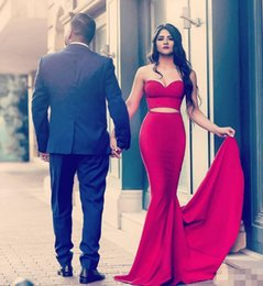 Two piece fishTail prom dress online shopping - 2019 Hot Fashion Arabic Dubai Two Pieces Fishtail Long Prom Dresses Sweetheart Backless Special Occasion Dress Evening Wear