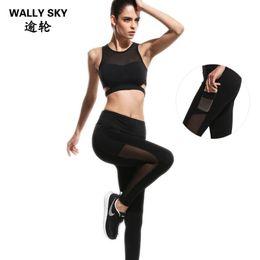 $enCountryForm.capitalKeyWord NZ - Woman Sports Wear Suits Mesh Patchwork Yoga Fitness Set Women Breathable Sport Bra Top+Stretchable Pants Running Gym Yoga Set
