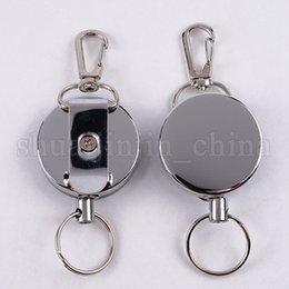 Recoil key chain online shopping - High Resilience Steel Wire Key Chain Ring Wire Rope Chain Recoil Metal Retractable Alarm Anti Lost Belt Clip NNA278