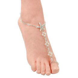 Chinese  Sexy Ladies Starfish Anklet For Girls Boho Pearl Foot Jewelry Anklet Beaded Chain Barefoot Sandals Bridal Wedding Jewelry manufacturers