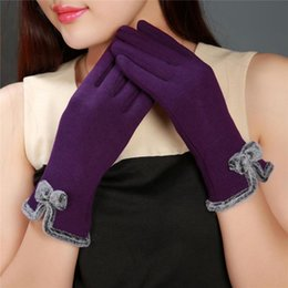 Cashmere Mittens NZ - MINHIN Women Cashmere Warm Gloves Full Finger Mittens Outdoor Driving Bowknot Gloves Solid Elasticity Christmas Gloves 1 Pair S1025