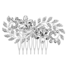 China 2018 Hotsale FEIS holesale crystal flower and leaf hair combed romantic bridal flower headdress hair accessory for bride wedding accessory suppliers