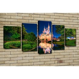 panel anime canvas prints 2019 - Abstract Canvas Oil Painting Wall Art Poster Anime World Pictures 5 Pieces Cinderella Castles Home Decor cheap panel ani