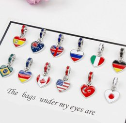 Wholesale New Pandora National flag Big Hole Loose Beads DIY Jewellery Making Silve Charm Pendants Bracelet Jewelry Making Party Gifts
