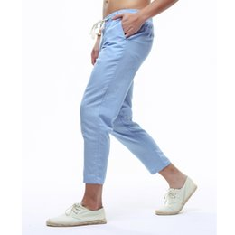 Chinese  2018 Mens Solid Color Linen Pencil Pants Elastic Waist Summer Trendy Thin Ankle-Length Pant Straight Jogger Trousers XXXL manufacturers