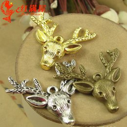5pcs Antique Bronze Tibetan Style Alloy Deer Large Pendants for Christmas 60mm