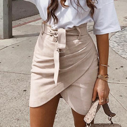 f8772bec357 2018080206 High waist belt suede leather skirts 2018 Autumn winter  irregular bodycon skirt Women sexy streetwear short skirts femme