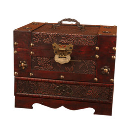 China Antique Europe Old Dressing Box Wooden with Lock Big Jewelry Box Ornament Simple Jewelry Storage Boxes with Mirror Wedding Gifts supplier wedding dress ornaments suppliers
