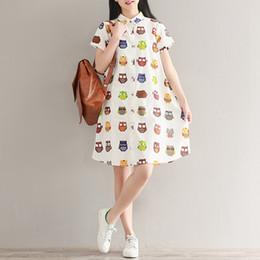 754d002470 Summer Owl Print Linen Cotton Dress Women Short Sleeve A-Line Dress Casual  Dresses Plus Size Party Clothing Vestido de festa
