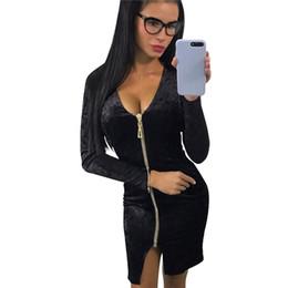 f1d22c33 Sexy Women Bodycon Velvet Dress V-Neck Long Sleeve 2018 Fashion Spring Dress  Zip Split Nightclub Party Pencil Midi Dress Vestido